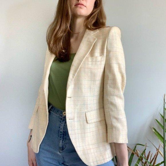 Christian Dior light tan plaid blazer wool blazer